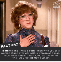 """Disney, Memes, and Pixar: DID YOU KNOW  MOVIES  FACT #42  Tootsie's line """"I was a better man with  you as a  woman than I ever was with a woman as a man  Know what I mean?"""" was voted as the #61 of  """"The 100 Greatest Movie Lines"""" What's your favourite movie line? ------------ All credit to the respective film and producers. movie movies film tv marvel dc starwars jurassicpark camera cinema fact didyouknow didyouknowmovies pixar disney bigfish moviefacts"""