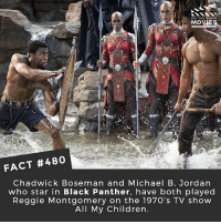Children, Memes, and Michael B. Jordan: DID YOU KNOW  MOVIES  FACT #480  Chadwick Boseman and Michael B. Jordan  who star in Black Panther, have both played  Reggie Montgomery on the 1970's TV show  All My Children Who is your favourite comic book character that hasn't had a film yet? *1970's starting 🎥 • • • • Double Tap and Tag someone who needs to know this 👇 All credit to the respective film and producers. movie movies film tv camera cinema fact didyouknow moviefacts cinematography screenplay director actor actress act acting movienight cinemas watchingmovies hollywood bollywood didyouknowmovies