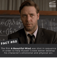 What's your favourite Russell Crowe movie? ------------ All credit to the respective film and producers. movie movies film tv marvel dc starwars jurassicpark camera cinema fact didyouknow didyouknowmovies pixar disney bigfish moviefacts: DID YOU KNOW  MOVIES  FACT #50  The film A Beautiful Mind was shot in sequence  in order to help Russell Crowe better develop  his character's emotional and physical arc. What's your favourite Russell Crowe movie? ------------ All credit to the respective film and producers. movie movies film tv marvel dc starwars jurassicpark camera cinema fact didyouknow didyouknowmovies pixar disney bigfish moviefacts