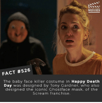 What's the best slasher film? 🎥 • • • • Double Tap and Tag someone who needs to know this 👇 All credit to the respective film and producers. movie movies film tv camera cinema fact didyouknow moviefacts cinematography screenplay director actor actress act acting movienight hollywood netflix didyouknowmovies riverdale: DID YOU KNOw  MOVIES  FACT #526  The baby face killer costume in Happy Death  Day was designed by Tony Gardner. who also  designed the iconic Ghostface mask, of the  Scream franchise What's the best slasher film? 🎥 • • • • Double Tap and Tag someone who needs to know this 👇 All credit to the respective film and producers. movie movies film tv camera cinema fact didyouknow moviefacts cinematography screenplay director actor actress act acting movienight hollywood netflix didyouknowmovies riverdale