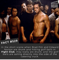 What is the best Brad Pitt movie? 🎥 • • • • Double Tap and Tag someone who needs to know this 👇 All credit to the respective film and producers. movie movies film tv camera cinema fact didyouknow moviefacts cinematography screenplay director actor actress act acting movienight hollywood netflix didyouknowmovies riverdale: DID YOU KNOw  MOVIES  FACT #529  In the short scene when Brad Pitt and Edward  Norton are drunk and hitting golf balls in  Fight Clu b, they really are drunk, and the golf  balls are sailing directly into the side of the  catering truck. What is the best Brad Pitt movie? 🎥 • • • • Double Tap and Tag someone who needs to know this 👇 All credit to the respective film and producers. movie movies film tv camera cinema fact didyouknow moviefacts cinematography screenplay director actor actress act acting movienight hollywood netflix didyouknowmovies riverdale