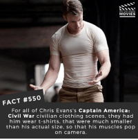 America, Captain America: Civil War, and Memes: DID YOU KNOW  MOVIES  FACT #550  For all of Chris Evans's Captain America:  Civil War civilian clothing scenes, they had  him wear t-shirts, that were much smaller  than his actual size, so that his muscles pop  on camera If a new team is formed after Infinity War with any potential upcoming Marvel characters, who would you choose? (Before you comment; I know the picture isn't from Civil War, just couldn't find any decent screengrabs from it!) 🎥 • • • • Double Tap and Tag someone who needs to know this 👇 All credit to the respective film and producers. movie movies film tv camera cinema fact didyouknow moviefacts cinematography screenplay director actor actress act acting movienight hollywood netflix didyouknowmovies riverdale
