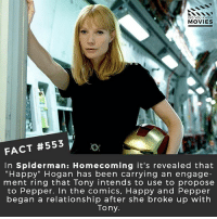 "Memes, Movies, and Netflix: DID YOU KNOw  MOVIES  FACT #553  In Spiderman: Homecoming it's revealed that  ""Happy"" Hogan has been carrying an engage  ment ring that Tony intends to use to propose  to Pepper. In the comics, Happy and Pepper  began a relationship after she broke up with  Tony What villain do you want to see in the Spiderman: Homecoming sequel? 🎥 • • • • Double Tap and Tag someone who needs to know this 👇 All credit to the respective film and producers. movie movies film tv camera cinema fact didyouknow moviefacts cinematography screenplay director actor actress act acting movienight hollywood netflix didyouknowmovies riverdale"