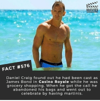 Who should replace Daniel Craig after his last Bond film? 🎥 • • • • Double Tap and Tag someone who needs to know this 👇 All credit to the respective film and producers. movie movies film tv camera cinema fact didyouknow moviefacts cinematography screenplay director movienight hollywood netflix didyouknowmovies bond danielcraig: DID YOU KNOw  MOVIES  FACT #576  Daniel Craig found out he had been cast as  James Bond in Casino Royale while he was  grocery shopping. When he got the call he  abandoned his bags and went out to  celebrate by having martinis. Who should replace Daniel Craig after his last Bond film? 🎥 • • • • Double Tap and Tag someone who needs to know this 👇 All credit to the respective film and producers. movie movies film tv camera cinema fact didyouknow moviefacts cinematography screenplay director movienight hollywood netflix didyouknowmovies bond danielcraig