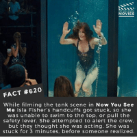 Memes, Movies, and Netflix: DID YOU KNOw  MOVIES  FACT #620  While filming the tank scene in Now You See  Me Isla Fisher's handcuffs got stuck, so she  was unable to swim to the top, or pull the  safety lever. She attempted to alert the crew  but they thought she was acting. She was  stuck for 3 minutes, before someone realized What stunt do you think was the most scary stunt-scene to perform in any film? 🎥 • • • • Double Tap and Tag someone who needs to know this 👇 All credit to the respective film and producers. movie movies film tv cinema fact didyouknow moviefacts cinematography screenplay director movienight hollywood netflix didyouknowmovies mexico cartel oscars2018 academyawards cmbyn callmebyyourname ladybird