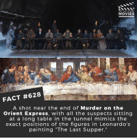 """What is the best murder mystery movie? 🎥 • • • • Double Tap and Tag someone who needs to know this 👇 All credit to the respective film and producers. movie movies film tv cinema fact didyouknow moviefacts cinematography screenplay director movienight hollywood netflix didyouknowmovies murder classic: DID YOU KNOW  MOVIES  FACT #628  A shot near the end of Murder on the  Orient Express, with all the suspects sitting  at a long table in the tunnel mimics the  exact positions of the figures in Leonardo's  painting """"The Last Supper."""" What is the best murder mystery movie? 🎥 • • • • Double Tap and Tag someone who needs to know this 👇 All credit to the respective film and producers. movie movies film tv cinema fact didyouknow moviefacts cinematography screenplay director movienight hollywood netflix didyouknowmovies murder classic"""