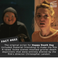Memes, Movies, and Netflix: DID YOU KNOW  MOVIES  FACT #653  The original script for Happy Death Day  included material intending to make the film  R-rated. Some scenes involved grislier death  depictions that were entirely altered by the  film's director Christopher Landon. What's your favourite current horror franchise? 🎥 • • • • Double Tap and Tag someone who needs to know this 👇 All credit to the respective film and producers. movie movies film tv cinema fact didyouknow moviefacts cinematography screenplay director movienight hollywood netflix didyouknowmovies academyawards mcu horror death murderer slasher scream