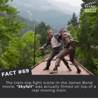 """Disney, James Bond, and Memes: DID YOU KNOW  MOVIES  FACT #69  The train-top fight scene in the James Bond  movie, """"Skyfall"""" was actually filmed on top of a  real moving train What did you think of Skyfall? ------------ All credit to the respective film and producers. movie movies film tv marvel dc starwars jurassicpark camera cinema fact didyouknow didyouknowmovies pixar disney bigfish moviefacts jamesbond 007 spiderman"""