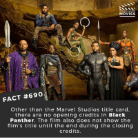 Memes, Movies, and Netflix: DID YOU KNOW  MOVIES  FACT #6902  Other than the Marvel Studios title card,  there are no opening credits in Black  Panther. The film also does not show the  film's title until the end during the closing  credits. What do you want from a Black Panther sequel? 🎥 • • • • Double Tap and Tag someone who needs to know this 👇 All credit to the respective film and producers. movie movies film tv cinema fact didyouknow moviefacts cinematography screenplay director movienight shrooms hollywood netflix didyouknowmovies academyawards blackpanther tchalla wakanda mcu marvel vibranium
