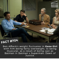 Batman, Memes, and Movies: DID YOU KNOw  MOVIES  FACT #704  Ben Affl eck's weight fluctuates in Gone Girl  with him being fairly overweight, to being  muscular, as a result of being cast as  Batman in Batman v Superman: Dawn of  Justice. Do you want Ben Affleck to quit as Batman? 🎥 • • • • Double Tap and Tag someone who needs to know this 👇 All credit to the respective film and producers. movie movies film tv cinema fact didyouknow moviefacts cinematography screenplay director movienight hollywood netflix didyouknowmovies academyawards batman bvsdoj justiceleague wonderwoman dc