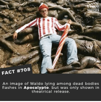 Bodies , Fashion, and Memes: DID YOU KNOw  MOVIES  FACT #708  An image of Waldo lying among dead bodies  flashes in Apocalypto. but was only shown in  theatrical release. They make a 'Where's Waldo' movie, who plays Waldo? 🎥 • • • • Double Tap and Tag someone who needs to know this 👇 All credit to the respective film and producers. movie movies film tv cinema fact didyouknow moviefacts cinematography screenplay director movienight hollywood netflix didyouknowmovies academyawards oscars2018 phantomthread fashion