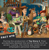 Apparently, Computers, and Disney: DID YOU KNOW  MOVIES  FACT #79  During the production of Toy Story 2, Pixar  accidentally deleted the entire movie from its  servers. Luckily, the movie was saved on an  employee's personal computer. Apparently she was a new mother working from home and therefore had a copy on her computer. ------------ All credit to the respective film and producers. movie movies film tv marvel dc starwars jurassicpark camera cinema fact didyouknow didyouknowmovies pixar disney moviefacts jamesbond 007 spiderman toystory titanic