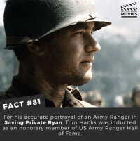 That's a big honour. ------------ All credit to the respective film and producers. movie movies film tv marvel dc starwars jurassicpark camera cinema fact didyouknow didyouknowmovies pixar disney moviefacts jamesbond 007 spiderman toystory titanic: DID YOU KNOW  MOVIES  FACT #81  For his accurate portrayal of an Army Ranger in  Saving Private Ryan, Tom Hanks was inducted  as an honorary member of US Army Ranger Hall  of Fame. That's a big honour. ------------ All credit to the respective film and producers. movie movies film tv marvel dc starwars jurassicpark camera cinema fact didyouknow didyouknowmovies pixar disney moviefacts jamesbond 007 spiderman toystory titanic