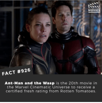 Fresh, Memes, and Movies: DID YOU KNOW  MOVIES  FACT #926  Ant-Man and the Wasp is the 20th movie in  the Marvel Cinematic Universe to receive a  certified fresh rating from Rotten Tomatoes Are you looking forward to watching this movie? 🎬📽️ • • • • Double Tap and Tag someone who needs to know this 👇 All credit to the respective film and producers. Movie Movies Film TV Cinema MovieNight Hollywood Netflix AcademyAwards antman antmanandthewasp evangelinelily paulrudd marvel theavengers avengers marvelstudios