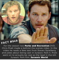 Chris Pratt, Fake, and Jurassic Park: DID YOU KNOW  MOVIES  FACT #949  For the season two Parks and Recreation DVD  Chris Pratt made a behind the scenes video. In the  video he reads a fake text from Steven Spielberg  and jokes about being cast in Jurassic Park 4. Pratt  went on to actually be cast as the lead in the 4th  Jurassic Park film, Jurassic World ⭐️🎬🎥 • • • • Double Tap and Tag someone who needs to know this 👇 All credit to the respective film and producers. Movie Movies Film TV Cinema MovieNight Hollywood Netflix chrispratt parksandrecreation jurassicpark andydwyer jurassicworld stevenspeilberg parksandrec