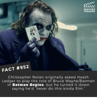 "Batman, Joker, and Memes: DID YOU KNOW  MOVIES  FACT #952  Christopher Nolan originally asked Heath  Ledger to play the role of Bruce Wayne/Batman  in Batman Begins, but he turned it down  saying he'd ""never do this kinda film  19 What are your thoughts on the new Joker Origin movie starring Joaquin Phoenix? 🎬🎥 • • • • Double Tap and Tag someone who needs to know this 👇 All credit to the respective film and producers. Movie Movies Film TV Cinema MovieNight Hollywood Netflix heathledger thejoker joaquinphoenix batman robin dc dceu gotham joker batmanbegins thedarkknight"