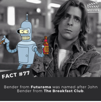 Who knew? Tag a friend below! ------------ All credit to the respective film and producers. movie movies film tv marvel dc starwars jurassicpark camera cinema fact didyouknow didyouknowmovies pixar disney moviefacts jamesbond 007 spiderman toystory titanic: DID YOU KNOW  MOVIES  For  FACT #77  Bender from Futurama was  named after John  Bender from The Breakfast Club Who knew? Tag a friend below! ------------ All credit to the respective film and producers. movie movies film tv marvel dc starwars jurassicpark camera cinema fact didyouknow didyouknowmovies pixar disney moviefacts jamesbond 007 spiderman toystory titanic