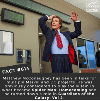 Jedi, Matthew McConaughey, and Memes: DID YOU KNOW  MOVIES  g23  FACT #614  Matthew McConaughey has been in talks for  multiple Marvel and DC projects. He was  previously considered to play the villain in  what became Spider Man: Homecoming and  he turned down a role in Guardians of the  Galaxy: Vol 2. What superhero-villain character would you like to see him do? 🎥 • • • • Double Tap and Tag someone who needs to know this 👇 All credit to the respective film and producers. movie movies film tv camera cinema fact didyouknow moviefacts cinematography screenplay director movienight hollywood netflix didyouknowmovies starwars obiwankenobi jedi reylo skywalker