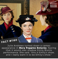 "Blunts, Disney, and Memes: DID YOU KNOW  MOVIESS  FACT #1160  Julie Andrews turned down a cameo  appearance in Mary Poppins Returns, fearing  that it would over shadow Emily Blunts  performance. She said, ""this is Emily's show  and I really want it to be Emily's show."" What is your favorite movie from your childhood?📽️🎬 • • • • Double Tap and Tag someone who needs to know this 👇 All credit to the respective film and producers. Movie Movies Film TV Cinema MovieNight Hollywood Netflix marypoppins disney julieandrews emilyblunt marypoppinsreturns"