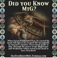 Just started magic a few days ago. I'm loving it so far. If you guys have any tips on saving money, strategies or just about anything I'll appreciate it! -Eva-01: DID YOU KNOW  MTG  When Gerrard beheaded Urza, he carried his  mu' head with him as he escaped The Stronghold. Cu  To Gerrard's surprise, Urza's head spoke to  him. Through the power of the Mightstone  and Weakstone which rested in his head as  eyes, Urza lived.  DIDYOUKNOwMTG.TUMBLR.coM Just started magic a few days ago. I'm loving it so far. If you guys have any tips on saving money, strategies or just about anything I'll appreciate it! -Eva-01