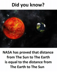 Twitter: BLB247 Snapchat : BELIKEBRO.COM belikebro sarcasm meme Follow @be.like.bro: Did you know?  NASA has proved that distance  from The Sun to The Earth  is equal to the distance from  The Earth to The Sun Twitter: BLB247 Snapchat : BELIKEBRO.COM belikebro sarcasm meme Follow @be.like.bro