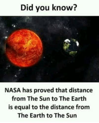 Funny, Nasa, and Earth: Did you know?  NASA has proved that distance  from The Sun to The Earth  is equal to the distance from  The Earth to The Sun
