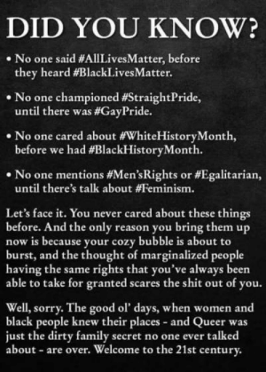 Did you know?: DID YOU KNOW?  No one said #AllLivesMatter, before  they heard #BlackLivesMatter.  No one championed #StraightPride,  until there was #GayPride.  .No one cared about #WhiteHistoryMonth,  before we had #BlackHistoryMonth.  .No one mentions #Men's Rights or #Egalitarian,  until there's talk about #Feminism.  Let's face it. You never cared about these things  before. And the only reason you bring them up  now is because your cozy bubble is about to  burst, and the thought of marginalized people  having the same rights that you've always been  able to take for granted scares the shit out of you.  Well, sorry. The good ol' days, when women and  black people knew their places and Queer was  just the dirty family secret no one ever talked  about are over. Welcome to the 21st century. Did you know?