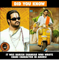 Now He Is Directing #DJ Waiting For More And More Entertaining  #Chari ..: DID YOU KNOW  NS  AP 16 EA 2425  PAGE  RTA  OlDISPAGEvLLENTERTAINU  IT WAS HARISH SHANKAR WHO WROTE  CHARI CHARACTER IN ADURS! Now He Is Directing #DJ Waiting For More And More Entertaining  #Chari ..