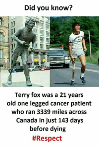 Respect, Canada, and Cancer: Did you know?  of  Terry fox was a 21 years  old one legged cancer patient  who ran 3339 miles across  Canada in just 143 days  before dying