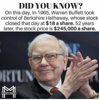 """Memes, Control, and 🤖: DID YOU KNOW?  On this day, in 1965, Warren Buffett took  control of Berkshire Hathaway, whose stock  closed that day at $18 a share. 52 years  Later, the stock price is $245,000 a share.  RIUN  MINORITY MINDSET 52 years later, he grew the company from $18-share to $245,000-share. He did not do it overnight or with some """"secret program"""". Consistent, compounded growth. FTM ThinkMinority @m2jaspreetsingh"""