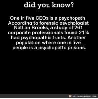 Dank, Prison, and Http: did you know?  One in five CEOs is a psychopath.  According to forensic psychologist  Nathan Brooks, a study of 261  corporate professionals found 21%  had psychopathic traits. Another  population where one in five  people is a psychopath: prisons.  DIDYOUKNOWBLOG.coM Makes perfect sense! 🤔  Get exclusive Did You Know(s) in your inbox ➡ http://goo.gl/iRFFE7