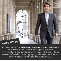 Memes, Movies, and Netflix: DID YOU KNOW  OVIES  FACT #1174  Production for Mission: Impossible - Fallout  had three thousand set-ups, thirteen  helicopters, six pregnancies, five hiatuses, four  weeks of aerial photography, three continents  two winters and one broken ankle 💪📽️🎬 • • • • Double Tap and Tag someone who needs to know this 👇 All credit to the respective film and producers. Movie Movies Film TV Cinema MovieNight Hollywood Netflix tomcruise missionimpossible fallout henrycavill simonpegg missionimpossiblefallout