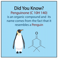 Memes, Penguin, and Penguins: Did You Know?  Penguinone (C 10H 140)  is an organic compound and its  name comes from the fact that it  resembles a Penguin Whoa badsciencejokes