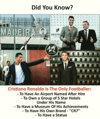 "A Few Footballers Have Achieved Some Of It, But Not All of it! 😉 Happy Birthday @Cristiano 🇵🇹: Did You Know?  PESTA  HOTEL GR  c7  ORGANIZATION  Cristiano Ronaldo Is The Only Footballer:  - To Have An Airport Named After Him  - To Own a Group of 5 Star Hotels  Under His Name  To Have a Museum Of His Achievements  - To Have His Own Brand - ""CR7  To Have a Statue A Few Footballers Have Achieved Some Of It, But Not All of it! 😉 Happy Birthday @Cristiano 🇵🇹"