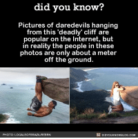 Amazon, Apple, and Facebook: did you know?  Pictures of daredevils hanging  from this 'deadly' cliff are  popular on the Internet, but  in reality the people in these  photos are only about a meter  off the ground.  PHOTO: LOCALSOFBRAZIL/REBRN  DIDYOUKNOWBLOG.COM So much courage... 😏🤥 daredevil ornot funny photos 📢 Share the knowledge! Tag your friends in the comments. ➖➖➖➖➖➖➖➖➖➖➖ Want more Did You Know(s)? ➡📓 Buy our book on Amazon: [LINK IN BIO] ➡📱 Download our App: http:-apple.co-2i9iX0u ➡📩 Get daily text message alerts: http:-Fact-Snacks.com ➡📩 Free email newsletter: http:-DidYouKnowFacts.com-Sign-Up- ➖➖➖➖➖➖➖➖➖➖➖ We post different content across our channels. Follow us so you don't miss out! 📍http:-facebook.com-didyouknowblog 📍http:-twitter.com-didyouknowfacts ➖➖➖➖➖➖➖➖➖➖➖ DYN FACTS TRIVIA TIL DIDYOUKNOW NOWIKNOW