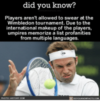 Amazon, Apple, and Facebook: did you know?  Players aren't allowed to swear at the  Wimbledon tournament. Due to the  international makeup of the players  umpires memorize a list profanities  from multiple languages.  PHOTO: HISTORY COM  DIDYOUKNOWFACTS.COM Fun homework for the umpires 🎾 tennis profanities interesting funny 📢 Share the knowledge! Tag your friends in the comments. ➖➖➖➖➖➖➖➖➖➖➖ Want more Did You Know(s)? ➡📓 Buy our book on Amazon: [LINK IN BIO] ➡📱 Download our App: http:-apple.co-2i9iX0u ➡📩 Get daily text message alerts: http:-Fact-Snacks.com ➡📩 Free email newsletter: http:-DidYouKnowFacts.com-Sign-Up- ➖➖➖➖➖➖➖➖➖➖➖ We post different content across our channels. Follow us so you don't miss out! 📍http:-facebook.com-didyouknowblog 📍http:-twitter.com-didyouknowfacts ➖➖➖➖➖➖➖➖➖➖➖ DYN FACTS TRIVIA TIL DIDYOUKNOW NOWIKNOW