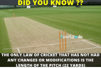 Memes, Cricket, and 🤖: DID YOU KNOW  port ZMIki  THE ONLY LAW OF CRICKET THAT HAS NOT HAD  ANY CHANGES OR MODIFICATIONS IS THE  LENGTH OF THE PITCH (22 YARDS) Length of the Cricket pitch is 22 Yards