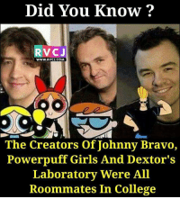 Memes, Bravo, and 🤖: Did You Know?  RTV CJ  WWW, RVCJ.COM  The Creators of Johnny Bravo,  Powerpuff Girls And Dextor's  Laboratory Were All  Roommates In College Did you know?😲😲 rvcjinsta