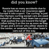 Cars, Memes, and Soon...: did you know?  Russia has so many accidents due to  icy roads that a car insurance agent  turned it into a sport. curling' just  like Olympic curling except cars are used  instead of stones. Each team has a group  that pushes the cars toward the target  (often biting it on the ice as soon as they  let go) and a driver who either steers to  the center, or smashes the other team's  cars out of the way  PHOTO: APIDAILY MAIL  DIDYOUKNOWFACTS COM Now that's how you prepare for icy roads. ❄️🚗 Russia carcurling icy icyroads ➡📱Download our free App: [LINK IN BIO]