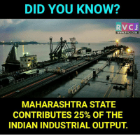 Did you know?: DID YOU KNOW?  RVC J  WWW. RVCJ.COM  MAHARASHTRA STATE  CONTRIBUTES 25% OF THE  INDIAN INDUSTRIAL OUTPUT Did you know?