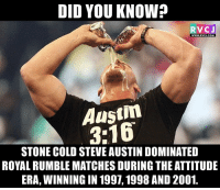 Stone Cold Steve Austin rvcjinsta: DID YOU KNOW?  RVCJ  WWW. RVCJ.COM  Austin  STONE COLD STEVE AUSTIN DOMINATED  ROYALRUMBLEMATCHES DURING THE ATTITUDE  ERA, WINNING IN 1997, 1998 AND2001 Stone Cold Steve Austin rvcjinsta