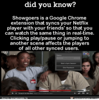 THIS. 💯👌🏼 amazing netflix friends watchingtv 📢 Share the knowledge! Tag your friends in the comments. ➖➖➖➖➖➖➖➖➖➖➖ Want more Did You Know(s)? ➡📓 Buy our book on Amazon: [LINK IN BIO] ➡📱 Download our App: http:-apple.co-2i9iX0u ➡📩 Get daily text message alerts: http:-Fact-Snacks.com ➡📩 Free email newsletter: http:-DidYouKnowFacts.com-Sign-Up- ➖➖➖➖➖➖➖➖➖➖➖ We post different content across our channels. Follow us so you don't miss out! 📍http:-facebook.com-didyouknowblog 📍http:-twitter.com-didyouknowfacts ➖➖➖➖➖➖➖➖➖➖➖ DYN FACTS TRIVIA TIL DIDYOUKNOW NOWIKNOW: did you know?  Showgoers is a Google Chrome  extension that syncs your Netflix  player with your friends' so that you  can watch the same thing in real-time.  Clicking play/pause or jumping to  another scene affects the players  of all other synced users  Start a Symac Session  11 05  PHOTO: SHOW GOERS TV THIS. 💯👌🏼 amazing netflix friends watchingtv 📢 Share the knowledge! Tag your friends in the comments. ➖➖➖➖➖➖➖➖➖➖➖ Want more Did You Know(s)? ➡📓 Buy our book on Amazon: [LINK IN BIO] ➡📱 Download our App: http:-apple.co-2i9iX0u ➡📩 Get daily text message alerts: http:-Fact-Snacks.com ➡📩 Free email newsletter: http:-DidYouKnowFacts.com-Sign-Up- ➖➖➖➖➖➖➖➖➖➖➖ We post different content across our channels. Follow us so you don't miss out! 📍http:-facebook.com-didyouknowblog 📍http:-twitter.com-didyouknowfacts ➖➖➖➖➖➖➖➖➖➖➖ DYN FACTS TRIVIA TIL DIDYOUKNOW NOWIKNOW