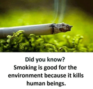 Every time you see a liberal, remind them that: Did you know?  Smoking is good for the  environment because it kills  human beings. Every time you see a liberal, remind them that