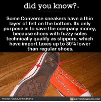 Amazon, Apple, and Chris Evans: did you know?  Some Converse sneakers have a thirn  layer of felt on the bottom. Its only  purpose is to save the company money,  because shoes with fuzzy soles  technically qualify as slippers, which  have import taxes up to 30% lower  than regular shoes.  PHOTO: FLICKR, CHRIS EVANS  DIDYOUKNOWFACTS.COM Check the bottom of your Converse 👀👟 shoes converse interesting 📢 Share the knowledge! Tag your friends in the comments. ➖➖➖➖➖➖➖➖➖➖➖ Want more Did You Know(s)? ➡📓 Buy our book on Amazon: [LINK IN BIO] ➡📱 Download our App: http:-apple.co-2i9iX0u ➡📩 Get daily text message alerts: http:-Fact-Snacks.com ➡📩 Free email newsletter: http:-DidYouKnowFacts.com-Sign-Up- ➖➖➖➖➖➖➖➖➖➖➖ We post different content across our channels. Follow us so you don't miss out! 📍http:-facebook.com-didyouknowblog 📍http:-twitter.com-didyouknowfacts ➖➖➖➖➖➖➖➖➖➖➖ DYN FACTS TRIVIA TIL DIDYOUKNOW NOWIKNOW