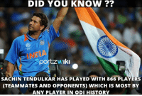 Sachin RECORD Tendulkar !: DID YOU KNOW  sportzw Iki  SACHIN TENDULKAR HAS PLAYED WITH 866 PLAYERS  (TEAMMATES AND OPPONENTS) WHICH IS MoST BY  ANY PLAYER IN ODI HISTORY Sachin RECORD Tendulkar !