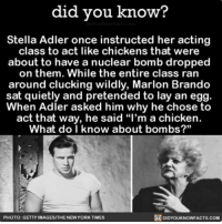 "Apple, Funny, and Memes: did you know?  Stella Adler once instructed her acting  class to act like chickens that were  about to have a nuclear bomb dropped  on them. While the entire class ran  around clucking wildly, Marlon Brando  sat quietly and pretended to lay an egg  When Adler asked him why he chose to  act that way, he said ""l'm a chicken.  What do I know about bombs?""  PHOTO: GETTY IMAGES/THENEW YORK TIMES  DIDYOUKNOWFACTS.COM I mean...he's not wrong. 🤔💁🏼‍♂️🐓 acting improv funny ➡📱Download our free App: http:-apple.co-2i9iX0u"