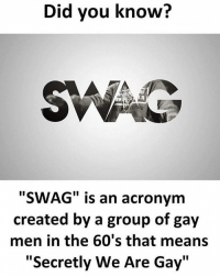 """Memes, Acronym, and 🤖: Did you know?  SWAG is an acronym  created by a group of gay  men in the 60's that means  """"Secretly We Are Gay"""" Lol Twitter: BLB247 Snapchat : BELIKEBRO.COM belikebro sarcasm Follow @be.like.bro"""