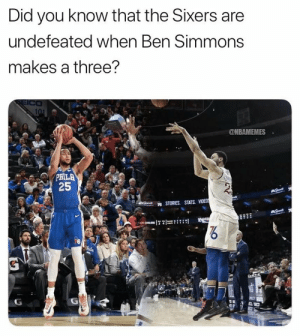 100% win rate 💯 https://t.co/9BZ8y4J1Ji: Did you know that the Sixers are  undefeated when Ben Simmons  makes a three?  SEICO  101  @NBAMEMES  PHILA  25  * STORIES. STATS. VIDEDS  hila 100% win rate 💯 https://t.co/9BZ8y4J1Ji