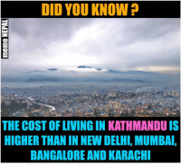 Kathmandu is the third most expensive city in South Asia: DID YOU KNOW  THE COSTOFLIVINGIN KATHMANDU IS  HIGHER THANIN NEW DELHI, MUMBAI,  BANGALORE AND KARACHI Kathmandu is the third most expensive city in South Asia