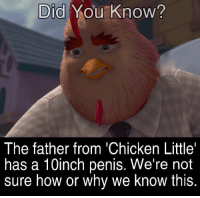 Chicken: Did You Know?  The father from 'Chicken Little'  has a 10inch penis. We're not  sure how or why we know this